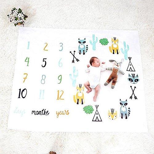新生児赤ちゃんマイルストーン記念品ブランケット赤ちゃんの最初年monthlyマイルストーンPersonalized写真撮影プロップ撮影背景布 ホワイト 43188-223689  Animals B077Y5D46D