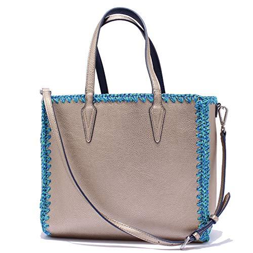 Maliparmi 1929y Sac Femme Réversible Eco Cuir Shopping + Sac Femme Sac Bronze / bleu