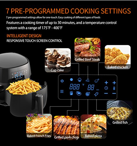 LOUISE STURHLING All-Natural Healthy Ceramic Coated 4.0L Air Fryer. BPA-FREE, PTFE & PFOA-FREE, 7-in-1 Pre-programmed One-touch Settings, Exclusive BONUS Items - FREE COOKBOOK, TONGS & PIZZA PAN by Louise Sturhling (Image #3)