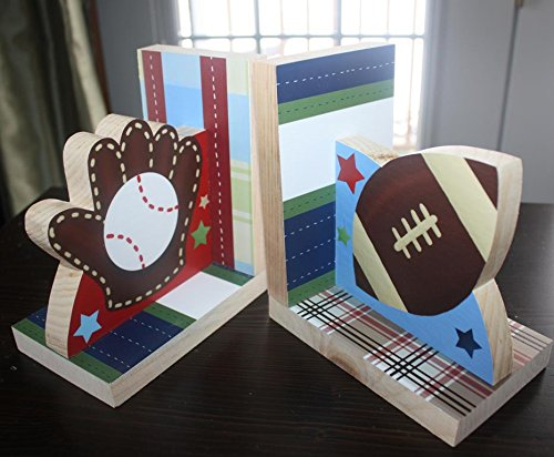 Sports Baseball Football Kids Bedroom Baby Nursery Wood Bookends BE0020 by Toad and Lily (Image #3)