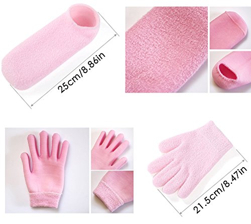 FOCUSAIRY Moisturizing Skincare Spa Gel Socks Gloves Set for Softening Dry Hard Cracked Heel Feet and Hands (Pink) by FOCUSAIRY (Image #3)