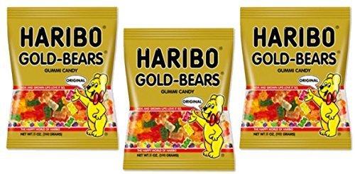 Haribo Original Gold-Bear Gummi Candies 4oz. Bags (Pack of 3)