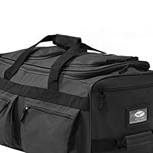 "Olympia Luggage 22"" 8 Pocket Rolling Duffel Bag (Charcoal Gray w/ Black - Exclusive Color)"