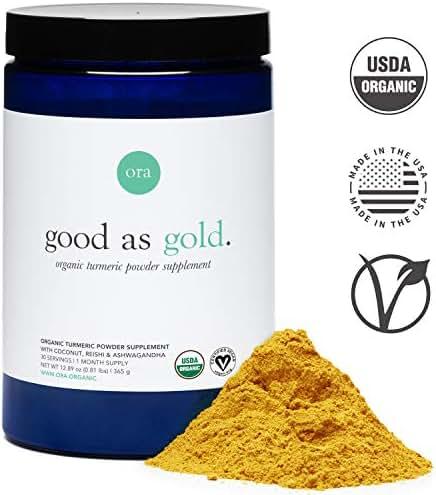 Ora Organic Golden Milk - Turmeric Powder Supplement with Ashwagandha, Reishi and Ginger, Vegan, Non-GMO - Full Size