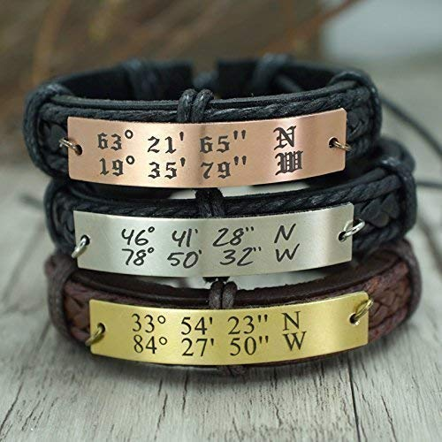 Coordinate Bracelet Leather, available in Stainless Steel Brass Copper, Personalized GPS Location, Gift for Him