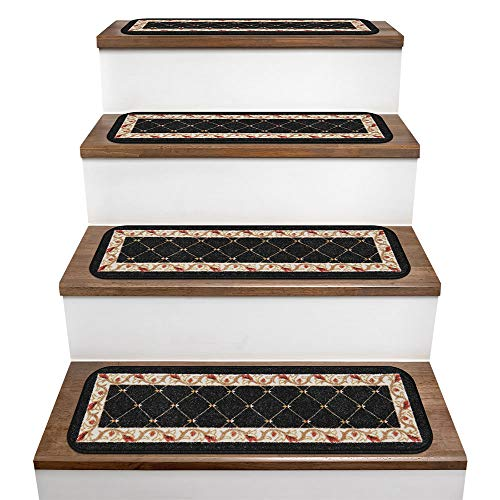House, Home and More Set of 15 Skid-Resistant Carpet Stair Treads - Traditional Lattice with Floral Border - Ebony Black - 8 in. X 26 in.