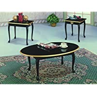 Maison Furniture 3 PCs chocolate coffee/tea table set (Black)