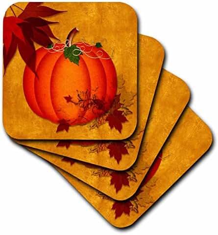 Doreen Erhardt Autumn Collection - Large Orange Pumpkin with Golden Grunge and Autumn Maple Leaves - set of 4 Ceramic Tile Coasters (cst_240093_3)
