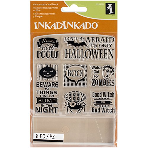Inkadinkado Halloween Inchie Clear Stamps Sheet, It's Halloween, 3.75 by -