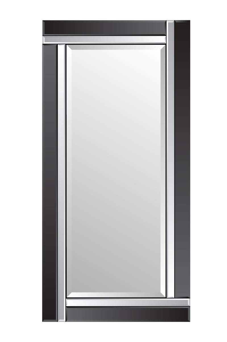 Large Black and Silver Bevelled Wall Mirror 5Ft9 X 2Ft9 174cm X 85cm MirrorOutlet
