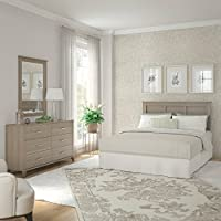 Bush Furniture Somerset Ash Grey Dresser with Mirror and Headboard