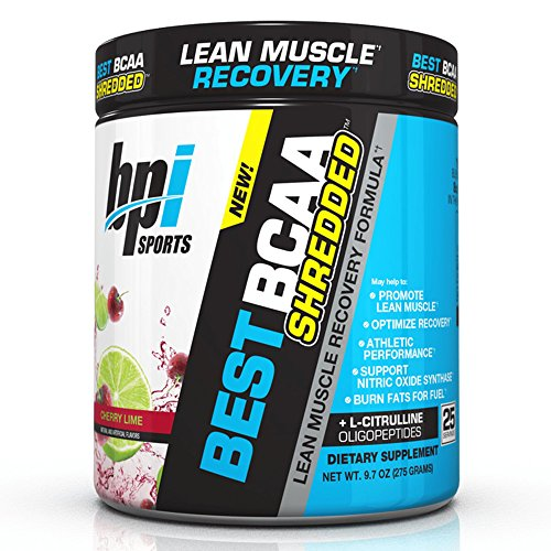 BPI Sports Best BCAA Shredded Caffeine Free Thermogenic Recovery Formula for Lean Muscle Growth, Cherry Lime, 9.7 Ounce