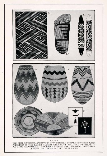 1932 Print Pueblo Indians Basket Woven Pattern Native American Traditional Craft - Original Halftone Print