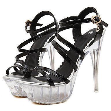 Las novedad y sandalias Stiletto Negro de Oro Plata Vestidos PU plataforma hebilla UK3 Crystal de mujeres US5 5 amp;Amp; verano talón talón EU36 FYios otros CN35 5 Noche A0qdA