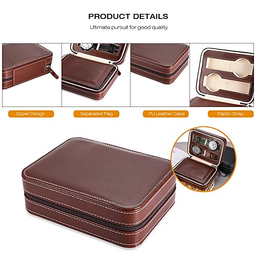 EleLight 4 Grids Watch Storage Display Box, Portable Travel Leather Watch Collector Storage Case for Men & Women as A Gift (Brown) by EleLight (Image #2)