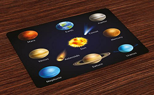Ambesonne Educational Place Mats Set of 4, Realistic Solar System Planets and Space Objects Asteroids Comet Universe Space, Washable Fabric Placemats for Dining Room Kitchen Table Decor, Multicolor by Ambesonne