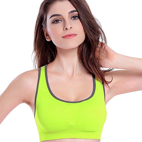 zrong Mujer Deporte Yoga Correr sujetador de ejercicios de fitness aeróbic Dance Chaleco Verde