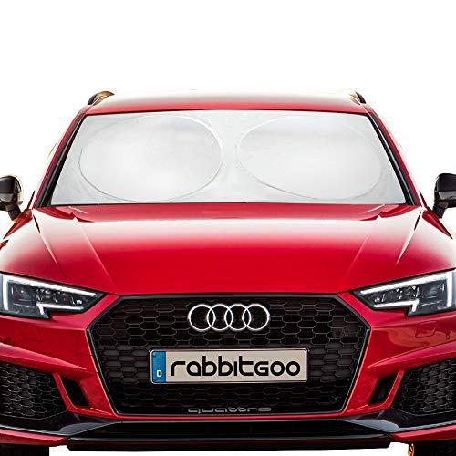 rabbitgoo Auto Sonnenschutz, Sonnenblende UV-Schutz Frontscheibe gegen Hitze im Auto Windschutzscheibe Nylon Silber 150x70CM