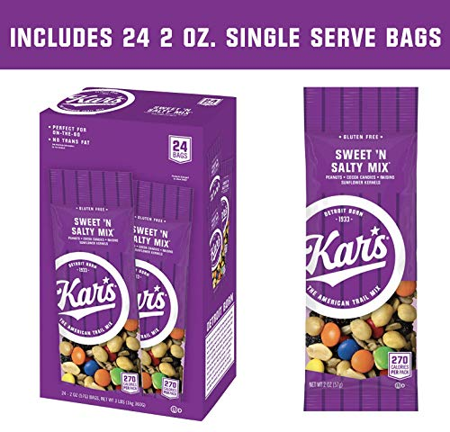 Kars Nuts Sweet N Salty Trail Mix Snacks - High Protein Blend of Peanuts, Sunflower Kernels, Raisins & Chocolate Gems - Bulk Pack of 2 oz Individual Single Serve Bags (Pack of 24)