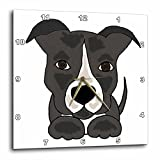 3dRose Funny Grey Pitbull Puppy Dog Cartoon – Wall Clock, 10 by 10″ (dpp_201801_1) Review