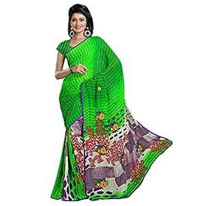 Shilp-Kala Chiffon Printed Green Colored Sarees SKN36003B