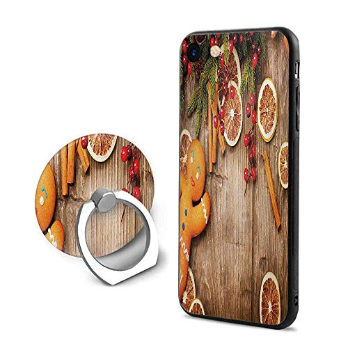 Gingerbread Man iPhone 7/iPhone 8 Cases,Rustic Composition with Holly Berry Orange Slice Cinnamon and Biscuit Brown Orange Red,Mobile Phone Shell Ring Bracket
