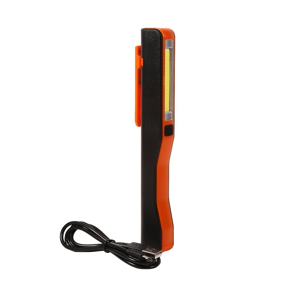 USB Torcia a mano ricaricabile a LED Torcia portatile a torcia a LED con magnete Clip Household Tool Rosso