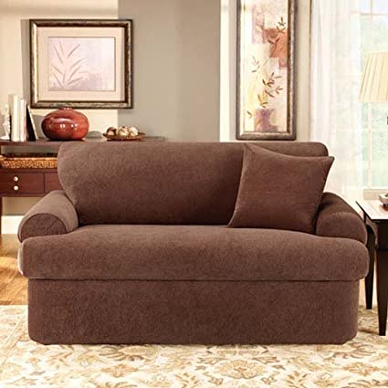 Sure Fit Stretch Pique 3 Piece   Sofa Slipcover   Chocolate (SF37934)