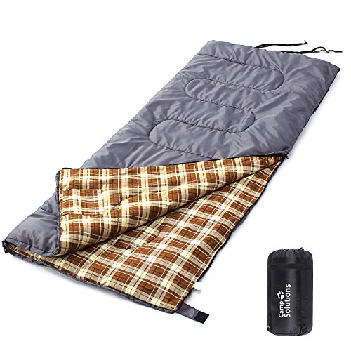 Camp Solutions XL Flannel Lined Sleeping Bag Lightweight Portable, for Traveling, Camping, Hiking, Office Nap