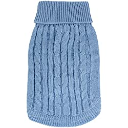 uxcell Ribbed Cuff Knitwear Pet Warm Apparel Sweater, Light Blue, Small