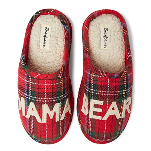 Dearfoams Women's Family Collection Mama Bear Clog Slipper, Red Plaid, Small