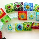 Beading Station 38pcs Square Millefiori Flower Lampwork Glass Beads 10mmx10mm