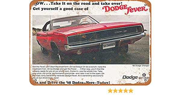 Vintage Look Reproduction 2 1967 Dodge Charger Metal Sign