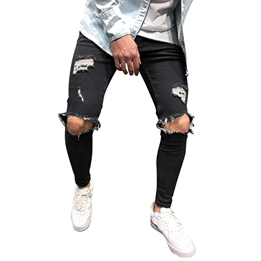 b5af3138 SamMoSonMens Skinny Stretch Denim Pants Distressed Ripped Freyed Slim Fit Jeans  Trousers (Black, XXXX