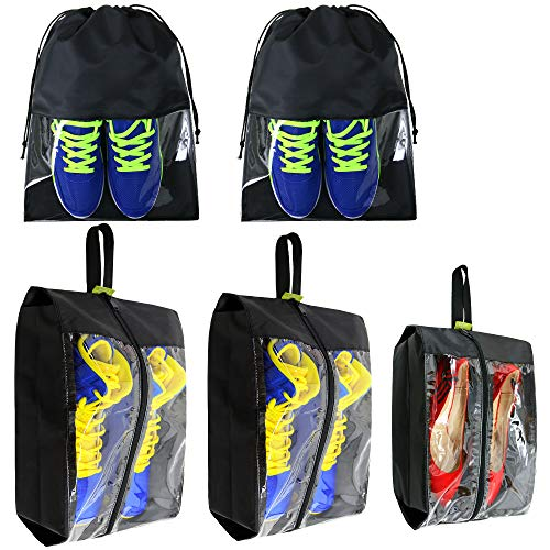 Travel-Accessories-Large-Waterproof-Shoes-Storage-Bag-Clear for Men Women Gym 5 Pack Black from BeeGreen