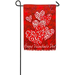Evergreen Valentine Scroll Suede Garden Flag, 12.5 x 18 inches