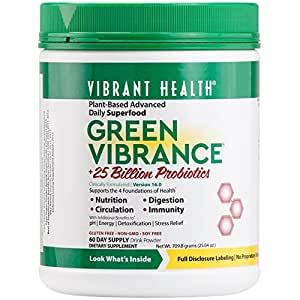 Vibrant Health - Green Vibrance, Plant-Based Daily Superfood + Probiotics and Digestive Enzymes, 60 servings (FFP)