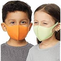 32 Degrees Cool Kids Unisex Face Mask Cover 4-Pack   Durable, Stretch, Washable, UPF 50+ (Orange/Med Grey/Mint/Kiwi)