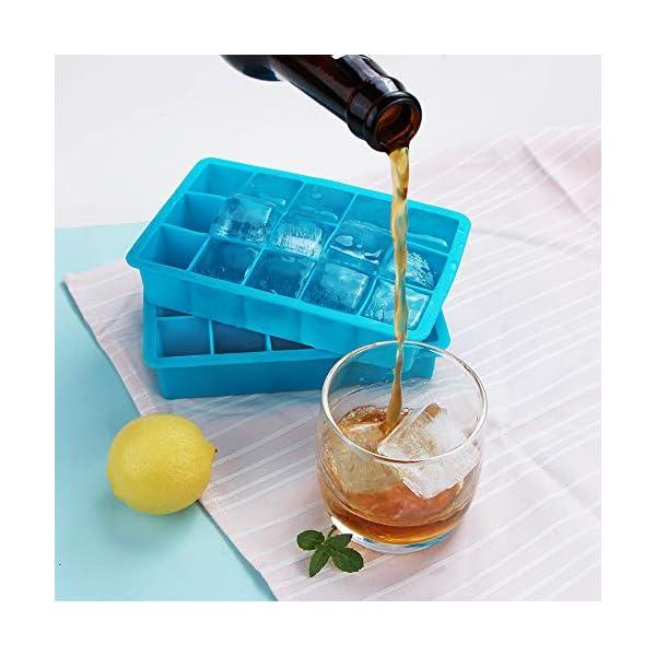 Webake Stampo Cubetti Ghiaccio in Silicone 15 Vassoio per Cubetti di Ghiaccio 3 x 3 cm Ideali per Alcolici, Whisky… 3 spesavip