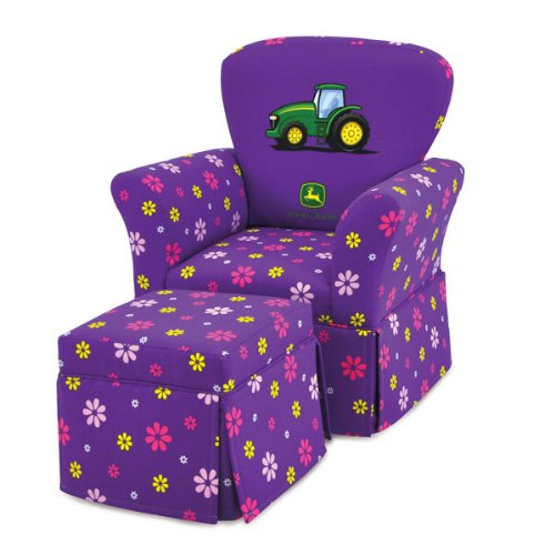 JD Purple Skirted Rocker Chair with Ottoman (Skirted Storage Ottoman)