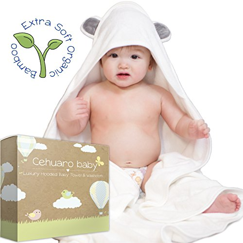 Luxury Organic Bamboo Hooded Baby Towel & Washcloth | Extra Thick, Ultra Soft & Absorbent 650 GSM Hypoallergenic Fabric | Suits Babies and Toddlers | Perfect Gift for Girl or Boy, by Cehuaro Baby by Cehuaro Baby