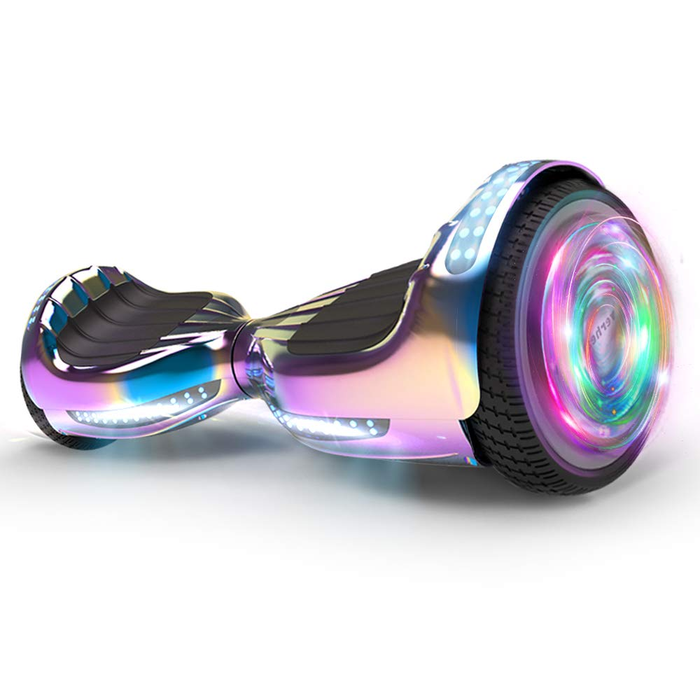 Hoverboard UL 2272 Certified Flash Wheel 6.5'' Wireless Speaker with LED Light Self Balancing Wheel Electric Scooter (Chrome Rainbow)