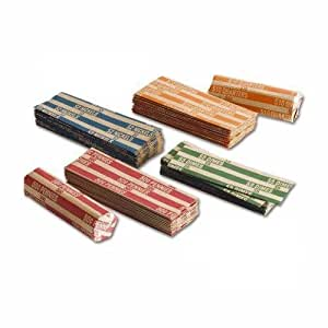 MMF Industries Flat Tubular Coin Wrappers, Color-Coded Kraft Paper, Assorted, 150 Wrappers per Package (216015047)