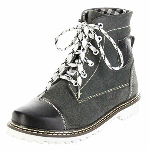 Bergheimer Trachtenschuhe Stiefel schwarz Leder Herren Damen Boots Schuhe Aflenz, Farbe:schwarz;Größe:39