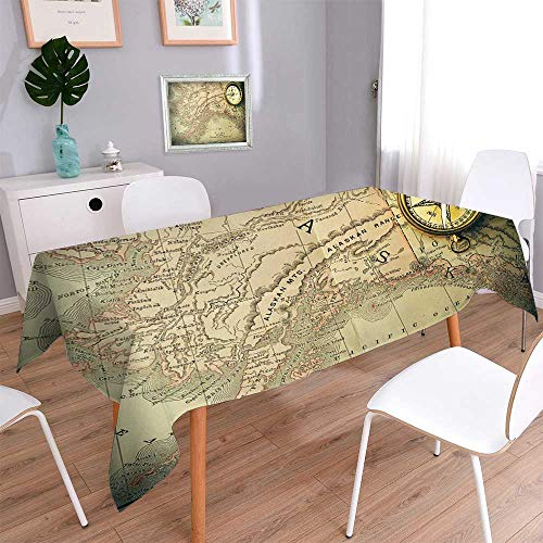 PINAFORE HOME Waterproof Spill Proof Tablecloth Antique Brass Compass Over Old XIX Century map Washable for Tablecloth /W52 x L108 Inch