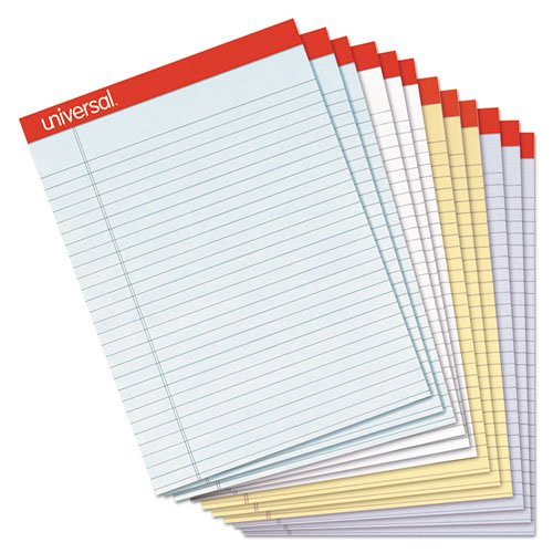 Universal 35879 Fashion Colored Perforated Ruled Writing Pads, Narrow, 8 1/2x11, 50 Sheets, 1 (Fashion Colored Perforated Ruled Writing)