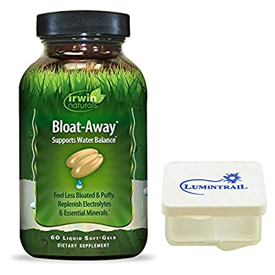 Irwin Naturals Bloat-Away Relief Water Balance Support Replenish Electrolytes & Essential Minerals - 60 Soft-Gels - Bundle with a Lumintrail Pill Case