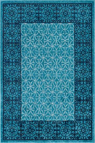 Well Woven Casa Tuscany Light Blue & Grey Modern Classic Mediterranean Tile Border Floral 7'10