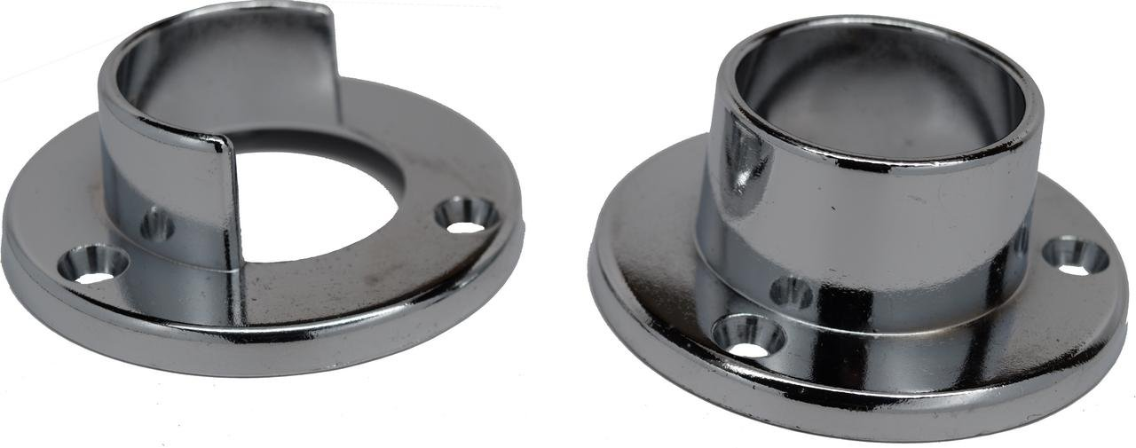1 1/4'' Chrome Closet Rod Support Flanges - 3 Pairs