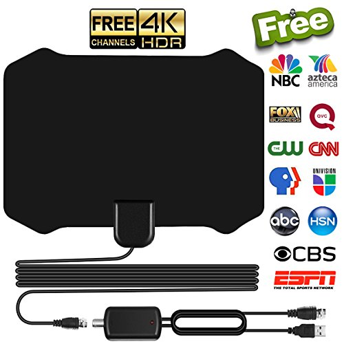 Skywire TV Antenna for Digital TV Indoor, Amplified HD Digital TV Antenna with 80 Miles Long Range, Support 4K 1080p & All Older TV's for Indoor with Powerful HDTV Amplifier Signal Booster